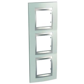 Rámček 3-násobný vert. zelená mat.metal./hliník Unica Top (Schneider)