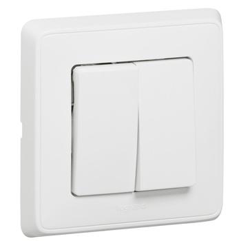 Prepínač dvojitý str. (5B) 10A/250V (PS) biela Cariva (Legrand)