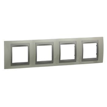 Rámček 4-násobný biela lesklá/hliník Unica Top (Schneider)