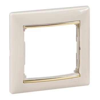 Rámček 1-násobný béžová/zlatý pásik Valena (Legrand)