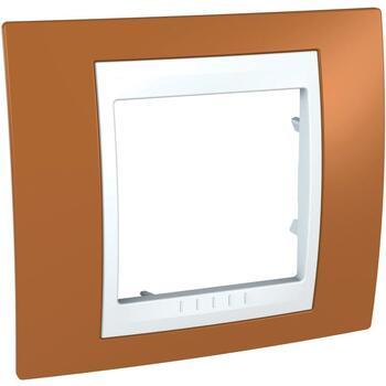 Rámček 1-násobný oranžová/biela Unica Plus (Schneider)