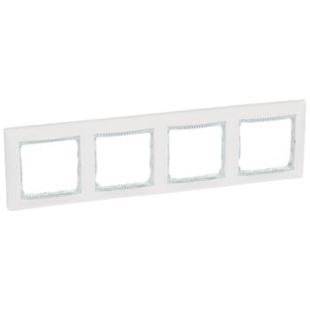 Rámček 4-násobný biela/priehľ.pásik Valena (Legrand)
