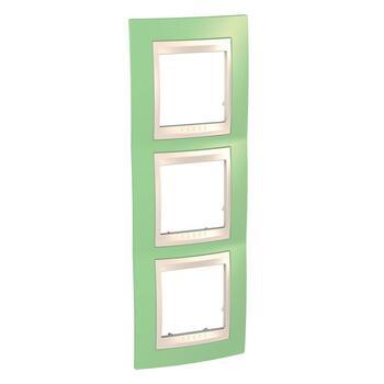 Rámček 3-násobný vert. jablkovozelená/slonovinová Unica Plus (Schneider)