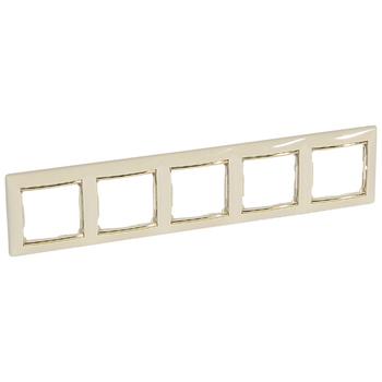 Rámček 5-násobný béžová/zlatý pásik Valena (Legrand)