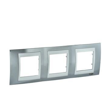 Rámček 3-násobný chrómová/biela Unica Plus (Schneider)