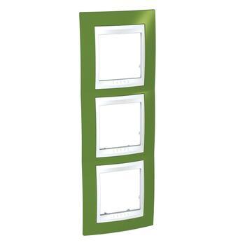 Rámček 3-násobný vert. pistáciová/biela Unica Plus (Schneider)