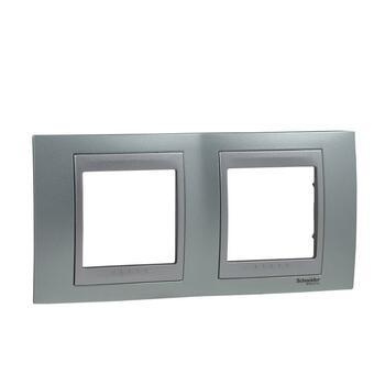 Rámček 2-násobný zelená mat.metal./hliník Unica Top (Schneider)