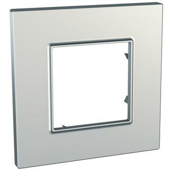 Rámček 1-násobný strieborná Unica Quadro Metallized (Schneider)